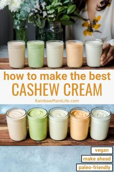 Eating Diet Food Prep The best guide on how to make Cashew Cream! Includes tips on achieving the creamiest texture, the proper liquid ratio, five different flavor variations, and ideas for how to use cashew cream in your everyday cooking and meal prep. Vegan Sauces, Vegan Foods, Vegan Dishes, Dairy Free Recipes, Vegan Recipes, Gluten Free, Cashew Cream, Vegan Meal Prep, Vegan Appetizers