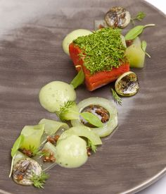 Gin proves to be a gorgeous flavouring for salmon in this summery dish from Dave Watts, with cucumber, dill and wasabi adding further notes of vibrancy.