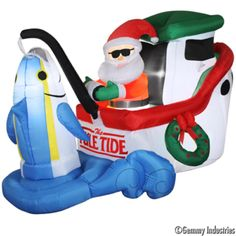 16' Long Airblown Christmas Inflatable Santa In Sleigh With Three ...
