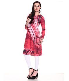 Biba Red Printed Polyester Medium  Kurti