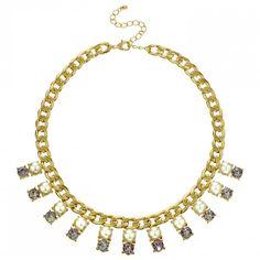 Mood Grey crystal and cream pearl drop necklace