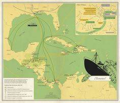 Banana Trade in the Americas, 1899-1970 by Catherine Burke #map #trade #americas