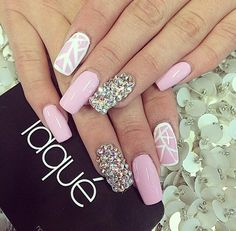 light pink with white geometric and rhinestone accents