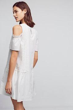 Open-Shoulder Poplin Dress