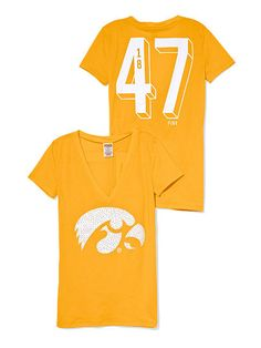 University of Iowa Bling V-neck Tee