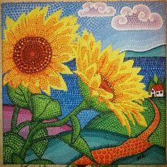 Quadro 20x20 cm Tecnica Puntinismo con colori acrilici Girasoli Autore: Alessandra Massaccesi