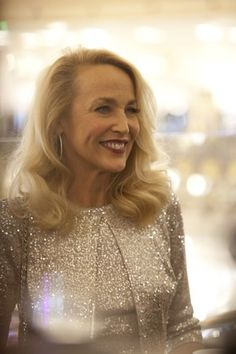 Jerry Hall in Paris to light the Galeries Lafayette Tree for the 2014 Holiday Season. Nov. 5, 2014.