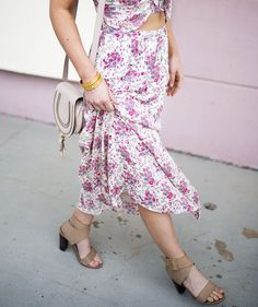 Floral Print Halter Midi Dress, Splendid Jayla sandals, Chloe mini Marcie bag