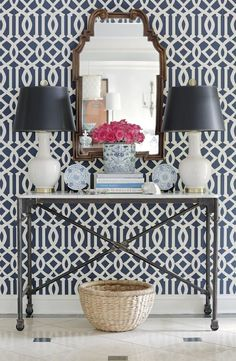 A little wallpaper with pattern might be kind of cool!  A STATEMENT ENTRYWAY « HOUSE of HARPER