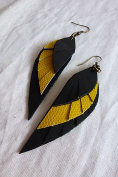 Pendientes alas de cuero, Bisutería, Pendientes, Cuero y piel, Pendientes