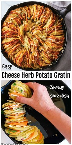 Cheese Herb Potato Gratin is the impressive side dish you'll want for the holidays, but can eat all year long. Impossibly thin leaves of potatoes stack sideways in a skillet with herbs and cheese for a deeply satisfying, comforting dish. #shockinglydelicious #potatogratinrecipe #thanksgivingpotatoes #skilletpotatoes Side Dish Recipes, Vegetable Recipes, Vegetarian Recipes, Dinner Recipes, Cooking Recipes, Healthy Recipes, Healthy Snacks, Healthy Eating, Potato Side Dishes