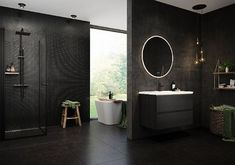 Black bathroom with simplistic styling and stunning interior details and greens 3d Visualization, Sorting, Bathtub, Mirror, Interior, Modern, Gull, Furniture, Bathrooms