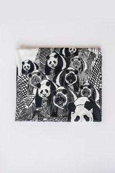 Panda Scarf Panda Print Scarf Black White Scarf Animal Scarf Funny Scarf Bear Scarf Panda Gift Girlfriend Gift Women Accessory