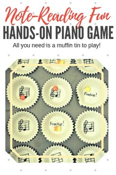 "Read Music 5 Games To Bake. All 5 of these games require just… (are you ready?) a muffin tin, some paper muffin liners, a pen and some small cookies or candies as your ""markers""; things you likely have on hand already Piano Lessons For Kids, Music Lessons, Cello Lessons, Kids Piano, Piano Games, Music Games, Learn Piano Beginner, Piano Teaching, Learning Piano"
