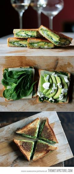Avocado grilled cheese recipe on link : pesto, avocado, spinach, goat cheese, mozarella