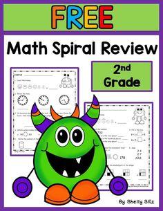 Second Grade Math--FREE math spiral review for 2nd grade---morning work for second grade