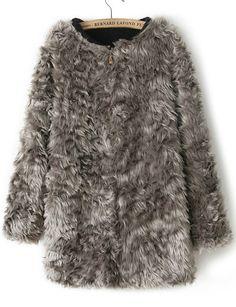 Grey Long Sleeve Zipper Faux Fur Coat US$39.99