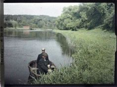Old colour photos of Ireland in 1913  Autochrome photo of a man in a boat