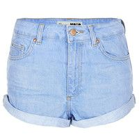 MOTO Blue High Waisted Hotpant - Denim Shorts - Shorts - Clothing - Topshop USA