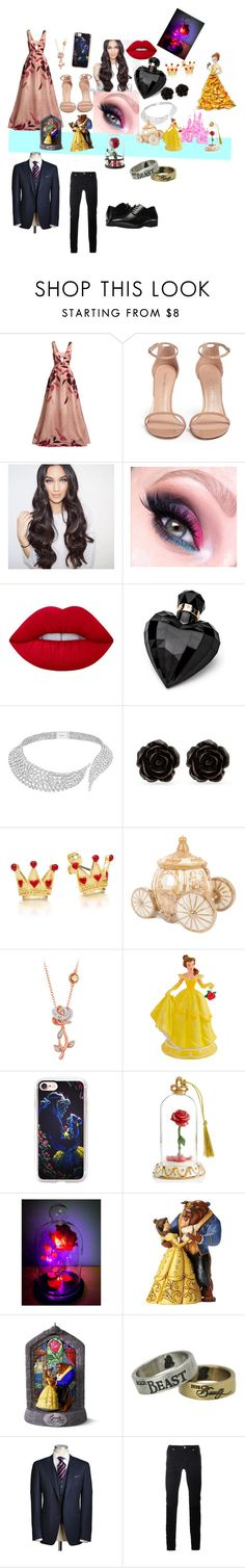 """""""I'm you're Beauty and you're my beast 👩🏽🐻👱🏼👸🏽💍"""" by sweet-chick80 ❤ liked on Polyvore featuring beauty, Lela Rose, Stuart Weitzman, Lime Crime, Lipsy, Messika, Erica Lyons, Disney, Casetify and Lenox"""