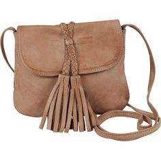 Day & Mood Tori Crossbody ($70) ❤ liked on Polyvore featuring bags, handbags, shoulder bags, brown, beige shoulder bag, brown cross body purse, tassel handbag, cross-body handbag and brown purse