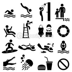 Man People Swimming Pool Sea Beach Sign Symbol Pictogram Icon by leremy - Stock Vector
