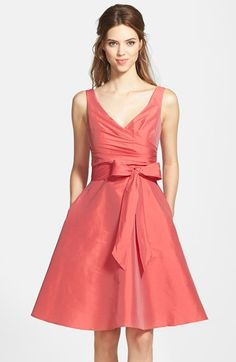 Alfred Sung Satin Fit & Flare Dress available at #Nordstrom  Love the style on this dress.