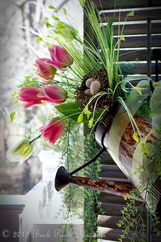 ~Copycat Challenge~ - Back Porch Musings use my tulips and peonies in white and silver metal watering can...sorta shabby chic