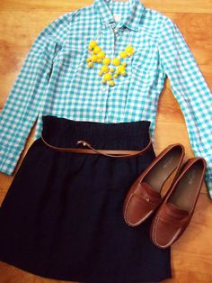 gingham shirt, bubble necklace, navy skirt, loafers