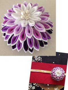 Tsumami kanzashi 個性派つまみ細工・大輪の帯留・極紫 Ribbon Art, Ribbon Crafts, Flower Crafts, Fabric Crafts, Handmade Flowers, Diy Flowers, Fabric Flowers, Diy And Crafts, Arts And Crafts