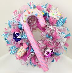 Sugar Plum Fairy With Large Candy Cane Christmas Deco Mesh Door Wreath, $90.00