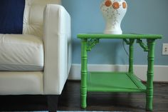 green bamboo side table