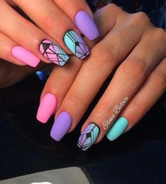 58 Popular nail designs How to choose your perfect nail polish summer nails art - VSCO ROOM Summer Acrylic Nails, Best Acrylic Nails, Summer Nails, Purple Nail Designs, Nail Art Designs, Nails Design, Unique Nail Designs, Aztec Nail Designs, Manicures
