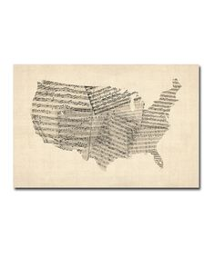 Sheet music world map art print canvases sheet music and printing old sheet music usa map gallery wrapped canvas itll look awesome in gumiabroncs Gallery