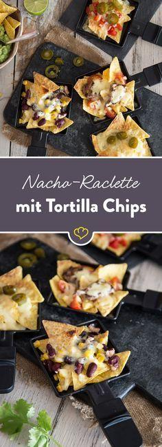 Mach deine Tortilla Chips zu echt mexikanischen Nachos: Mit leckeren Toppings belegen und mit viel Käse im Pfännchen unter dem Raclette-Grill überbacken.
