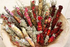 sage, mugwort and peppermint smudge sticks. I personally Love using smudge's. the open natural scents are wonderful. Traditionally only leaves and stems. but adding some dried flowers of each plant give a pretty variation as well as additional scent. Feng Shui Your Bedroom, Smudge Sticks, Wiccan, Witchcraft, Smudging, Herbalism, Apothecary, Lavender Roses, Lavender Blue