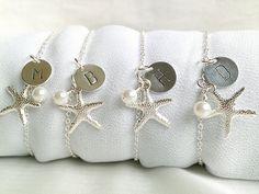 FREE SHIPPING Set Of 4 Personalized Starfish Bridesmaid Bracelets, Beach Wedding Theme Bridesmaid Bracelet Set Of 4, Bridesmaid Gift Set on Etsy, $40.13 AUD