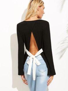 Black Bow Tie Split Back Ribbed T-shirt - Zooomberg