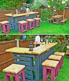 Is That a Pallet Swimming Pool? 24 DIY Pallet Outdoor Furniture Creations and Big Builds Is That a Pallet Swimming Pool? 24 DIY Pallet Outdoor Furniture Creations and Big Builds: Outdoor pallet bar diy wood. Pallet Garden Furniture, Outdoor Furniture Plans, Pallets Garden, Bar Furniture, Furniture Design, Wooden Furniture, Recycled Furniture, Antique Furniture, Skid Furniture