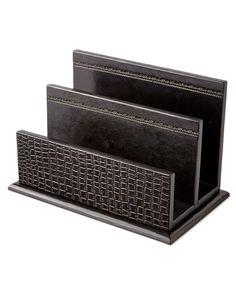 Black Crocodile-Print Leather Letter Rack