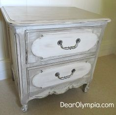 French Country Nightstand in CeCe Caldwell's Young Kansas Wheat and Dover White | CeCe Caldwell Paint | CeCe Caldwell's Chalk and Clay Paint | Refinished Furniture | gender neutral nursery | neutral | refinished furniture
