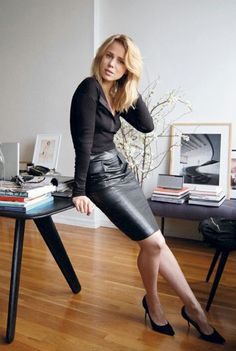 Office leather pencil skirt