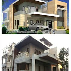 Modern houses by ingenious modern | homify Modern Bungalow Exterior, Modern Exterior House Designs, Modern House Facades, Tiny House Design, Modern Houses, Modern House Design, 6 Bedroom House Plans, Privacy Landscaping, Facade House