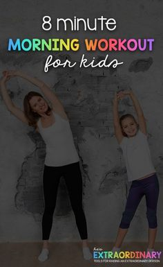 8 minute morning workout for kids - this quick and easy indoor activity for kids is a great way to start your morning routine Yoga For Kids, Exercise For Kids, Kids Workout, Workout Plans, Children Exercise, Workout Men, Workout Music, Street Workout, Pilates Workout