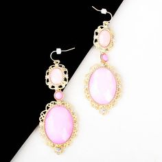 Gold Plated Pink Vtg Style Retro Oval Gems Dangle Earrings Jewelry