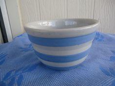 antique bakewells pottery Australia mixing bowl  cornish ware style blue stripe