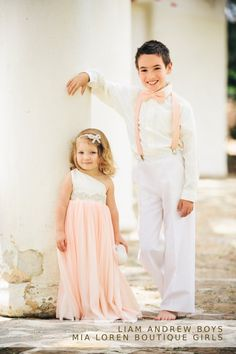 Flower girl dress and pageboy suspenders and bow tie, by MiaLorenBoutique on etsy.com