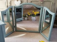 Shabby Chic Vintage style Triple DRESSING TABLE MIRROR Annie Sloan Duck Egg Blue…