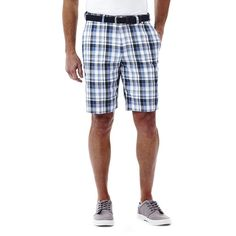 Men's Haggar® Cool 18® Flat-Front Plaid Shorts, Brt Blue