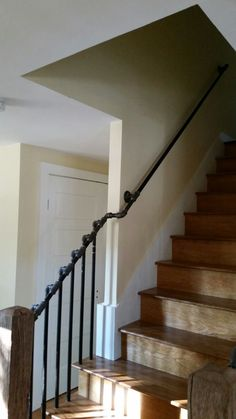 Railing and posts went in today. I chose an industrial look using steel plumbing pipe. Pipe Railing, Staircase Handrail, Banisters, Stair Railing, Railing Ideas, Basement Stairs, House Stairs, Bookcase Stairs, Industrial Stairs